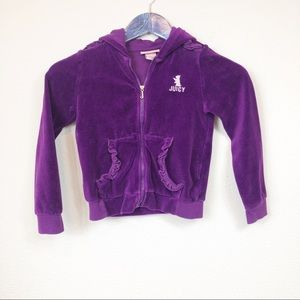 Juicy Couture Girls Purple Ruffle Velour Jacket